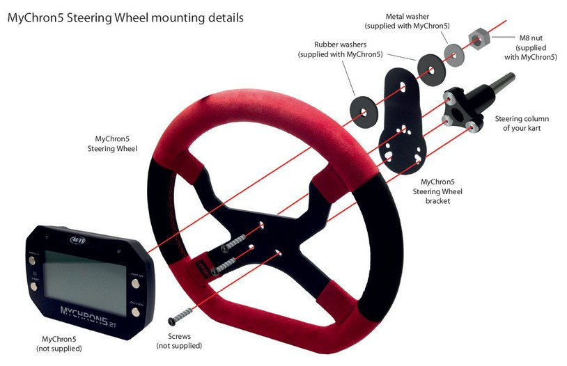 Installing the MyChron 5 Kart Racing Steering Wheel is easy and immediate with the bracket included in the kit.